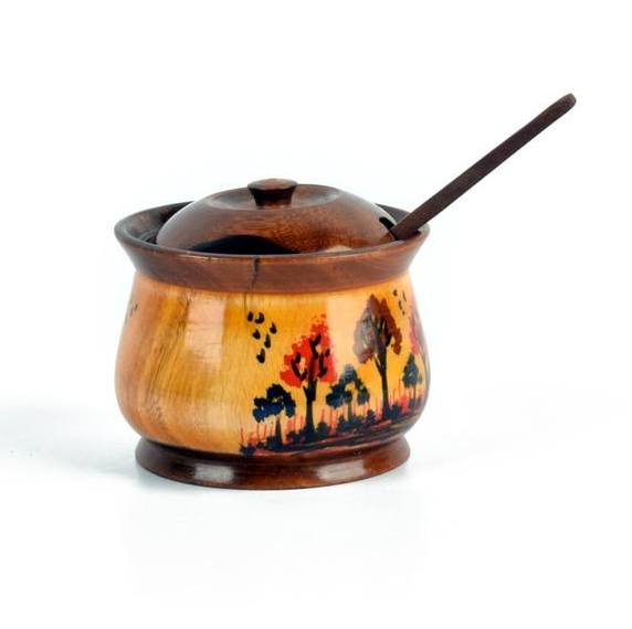 Wonderful wooden sugar bowl with lid and spoon.