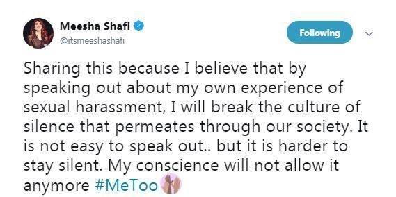 Meesha Shafi Ali zafar case harassment